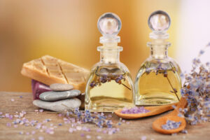 Spa image with oils in glass bottles