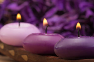 Candles in different shades of purple